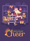 Santa Claus die een boodschappenwagentje met zijn elf in een stuk speelgoed supermarkt berijden  royalty-vrije illustratie