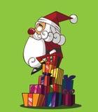 Santa Claus die een giftdoos houden Stock Illustratie