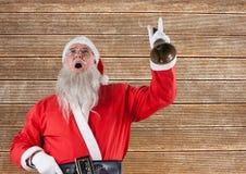 Santa Claus die een klok bellen Stock Afbeeldingen