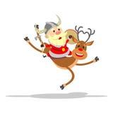 Santa Claus die een rendier berijden Royalty-vrije Stock Afbeeldingen