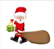 Santa Claus die een reusachtig zakhoogtepunt van giften trekken stock illustratie