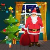 Santa Claus die een zak Kerstmis dragen stelt voor Stock Foto