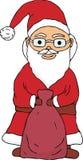 Santa Claus die een zak met giften houden Vector illustratie royalty-vrije illustratie