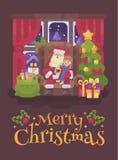 Santa Claus, die in einem Stuhl in einem gemütlichen Raum mit einem kleinen Mädchen in seinem Schoss flüsternd in sein Ohr sitzt  stock abbildung