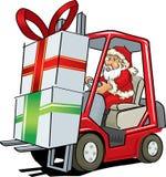 Santa Claus, die einen Gabelstapler fährt Stockfotografie