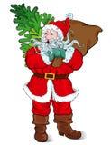 Santa Claus, die einen Sack Geschenke trägt Stockbilder
