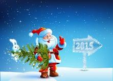 Santa Claus, die einen Weihnachtsbaum in ihren Händen hält Lizenzfreie Stockbilder