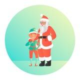 Santa Claus die elf koesteren Leuke karakters Royalty-vrije Stock Fotografie