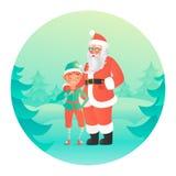 Santa Claus die elf koesteren Leuke karakters Royalty-vrije Stock Afbeelding