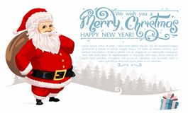 Santa Claus, die enormen Sack trägt vektor abbildung