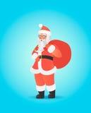 Santa Claus die grote zak op zijn schouder dragen Leuk Kerstmiskarakter Royalty-vrije Stock Afbeelding