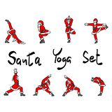 Santa Claus die hand doen van de de schetskrabbel van de yoga de vastgestelde vectordieillustratie met zwarte geïsoleerde lijnen  stock illustratie