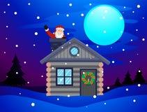 Santa Claus, die innerhalb des Kamin-Hauses wellenartig bewegt Lizenzfreies Stockfoto