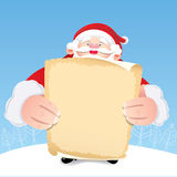 Santa Claus, die klassisches Papier hält Stockbild
