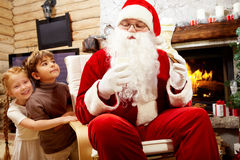 Santa Claus die komen bezoeken Stock Fotografie