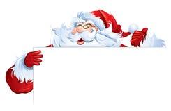 Santa Claus, die leeres Zeichen hält Lizenzfreies Stockfoto