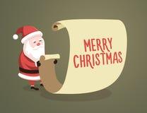 Santa Claus die lijst met het Vrolijke Kerstmisbericht controleren Vector illustratie vector illustratie