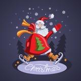 Santa Claus die met een zak van giften schaatsen Royalty-vrije Stock Foto's