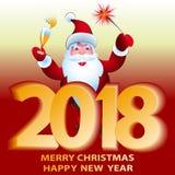 Santa Claus die met gegevens 2018 lachen Vrolijke Kerstmis en gelukkig Royalty-vrije Stock Foto's