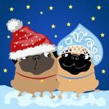 Santa Claus, die mit Schneemädchen flirtet lizenzfreie abbildung