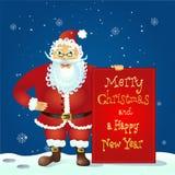 Santa Claus, die mit Weihnachtsgrußfahne in der Armvektorillustration steht Lizenzfreie Stockbilder