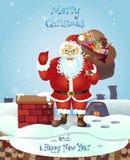 Santa Claus, die mit Weihnachtsgrußfahne in der Armvektorillustration steht Stockfoto