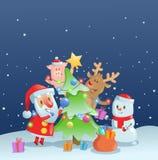 Santa Claus die Nieuwjaarboom met zijn vrienden verfraaien Webbanner, reclame, kaart, drukontwerp Kleurrijke vlakte royalty-vrije illustratie