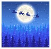Santa Claus die op slee op de hemel vliegen Stock Afbeeldingen