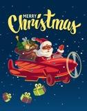Santa Claus die op vliegtuig vliegen met stelt voor Stock Foto