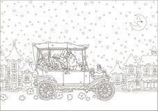 Santa Claus, die sein Auto mit Weihnachtsgeschenken fährt stockbild