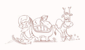Santa Claus, die seinen Pferdeschlitten drücken und Rudolph Lizenzfreies Stockbild