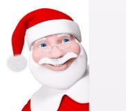 Santa Claus dietro una rappresentazione isolata manifesto 3d Fotografia Stock Libera da Diritti