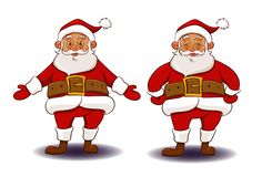 Santa Claus in different poses smiling stock illustration