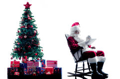 Santa claus digital Tablets silhouette isolated Stock Images
