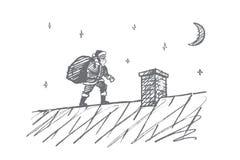 Santa Claus disegnata a mano che va al camino con i regali Immagini Stock Libere da Diritti