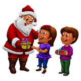 Santa Claus distributing gifts to kids with smile. Santa Claus distributing gifts to kids with big smile on Christmas royalty free illustration