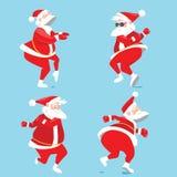 Santa Claus divertente che balla la torsione, Natale fissato Fotografia Stock