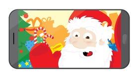 Santa Claus divertente che prende un selfie nella sua officina illustrazione di stock