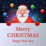 Santa Claus divertida desea una Feliz Navidad y una Feliz Año Nuevo ilustración del vector