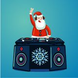 Santa Claus DJ com plataforma giratória do vinil Cartaz do partido da música do Natal Mostra da música do clube noturno do ano no ilustração royalty free