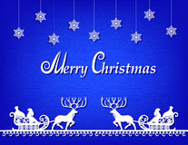 Santa Claus-document silhouet blauwe achtergrond Stock Foto