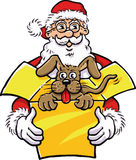 Santa Claus with dog in present box