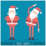 Santa claus doing yoga.Vector christmas card illustration Stock Photo