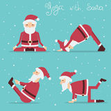 Santa Claus doing yoga.Vector holiday illustration Stock Image