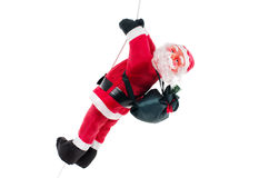 Santa Claus Doll Climbing On Rope Stock Photos