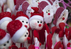 Santa Claus dolls for sale at Christmas holiday Royalty Free Stock Photos