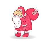 Santa Claus in doodle style, vector illustration Royalty Free Stock Photos