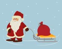 Santa Claus draagt een rode zak met giften op de slee stock illustratie