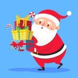 Santa Claus draagt giftenstapel De doos van de Kerstmisgift het dragen in handen De zware gestapelde de wintervakantie stelt vect vector illustratie