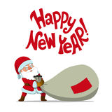 Santa Claus dragging a big sack and quote `Happy New Year!` Royalty Free Stock Image